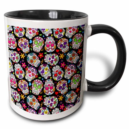 Pattern Sugar Base - 3dRose Colorful Tossed Sugar Skulls Pattern - Two Tone Black Mug, 11-ounce