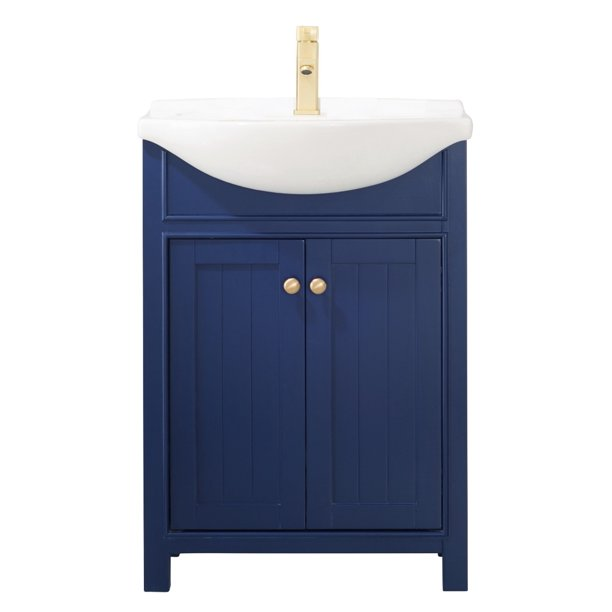 Design Element Marian 24 Single Sink Bathroom Vanity In Blue Fully Assembled Walmart Com Walmart Com