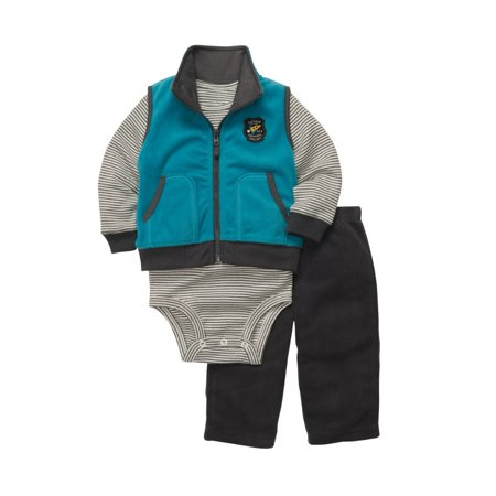 Carters Infant Boys Blue  Fleece Space Ship Outfit Sweat Pants Creeper & Vest