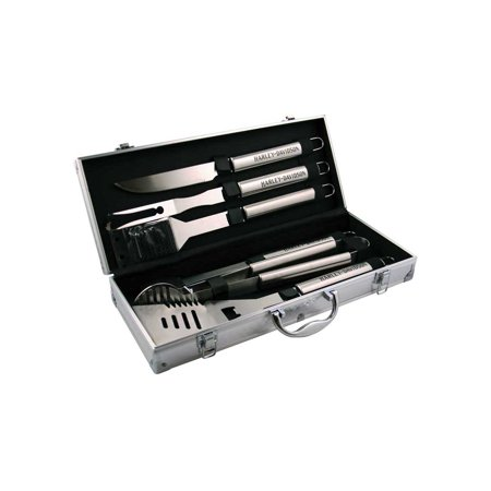 Harley-Davidson 6-piece Grill Tools Set w/ Metal Silver Carrying Case HDX-98503, Harley