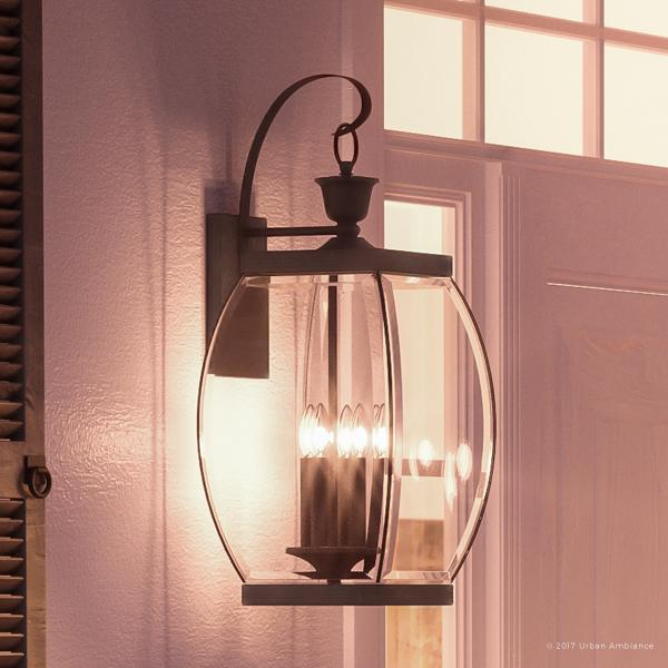 """Urban Ambiance Luxury Colonial Outdoor Wall Light, Large Size: 26""""H x 11""""W, with Transitional Style Elements, Bowed Design, Gorgeous Dark Medieval Bronze Finish and Beveled Glass, UQL1173"""