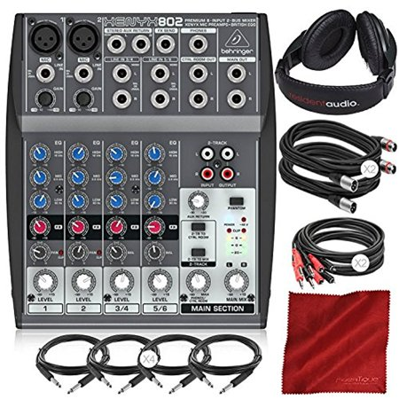 behringer xenyx 802 8 channel compact premium audio mixer with closed back headphones and deluxe. Black Bedroom Furniture Sets. Home Design Ideas