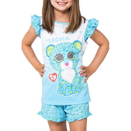 5b1d4a43c59 Ty Beanie Boo - Girls Leona Ruffle Pajama Short Set - Walmart.com