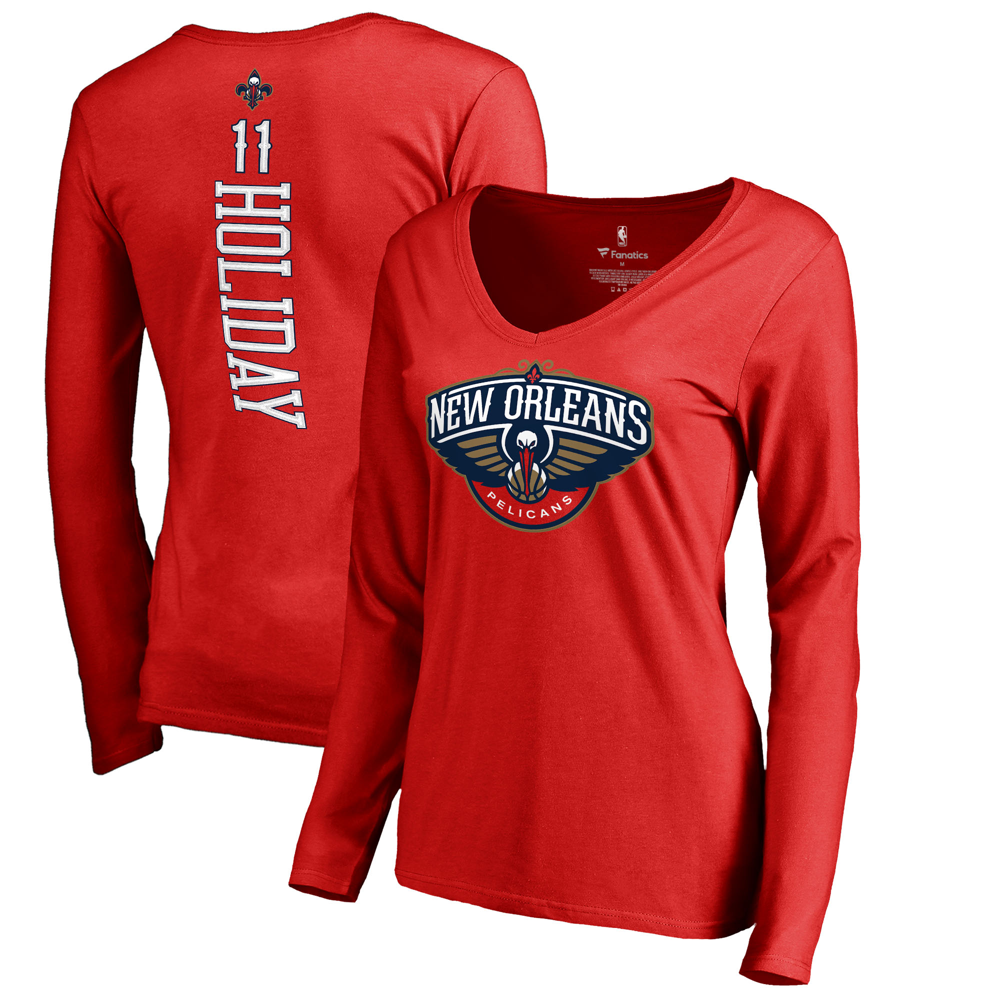 Jrue Holiday New Orleans Pelicans Fanatics Branded Women's Long Sleeve V-Neck Backer Name and Number T-Shirt - Red