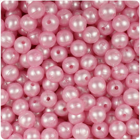 BeadTin Light Pink Pearl 8mm Round Craft Beads (8mm Graduated Pink Pearl)