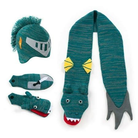 - Boys Blue Knight Hat Scarf Gloves Handmade Winter Set