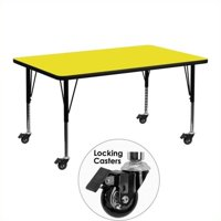 Flash Furniture Mobile 36''W x 72''L Rectangular Activity Table with 1.25'' Thick High Pressure Yellow Laminate Top and Height Adjustable Preschool Legs