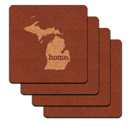 Michigan Mi Home State Low Profile Cork Coaster Set   Solid Marsala Wine