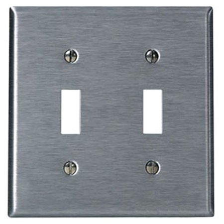 Leviton 84009-40 2-Gang Toggle Device Switch Wallplate, Standard Size, Device Mount, Stainless (Gang Wall Plates Leviton Toggle)