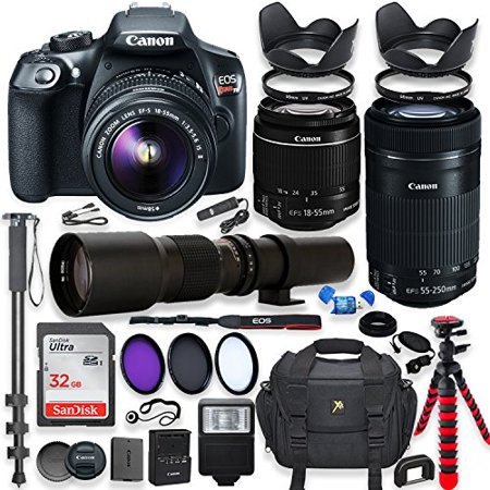 Canon EOS Rebel T6 DSLR Camera with 18-55mm IS II Lens Bundle + Canon EF-S 55-250mm f/4-5.6 IS STM Lens and 500mm Preset Lens + 32GB Memory + Filters +