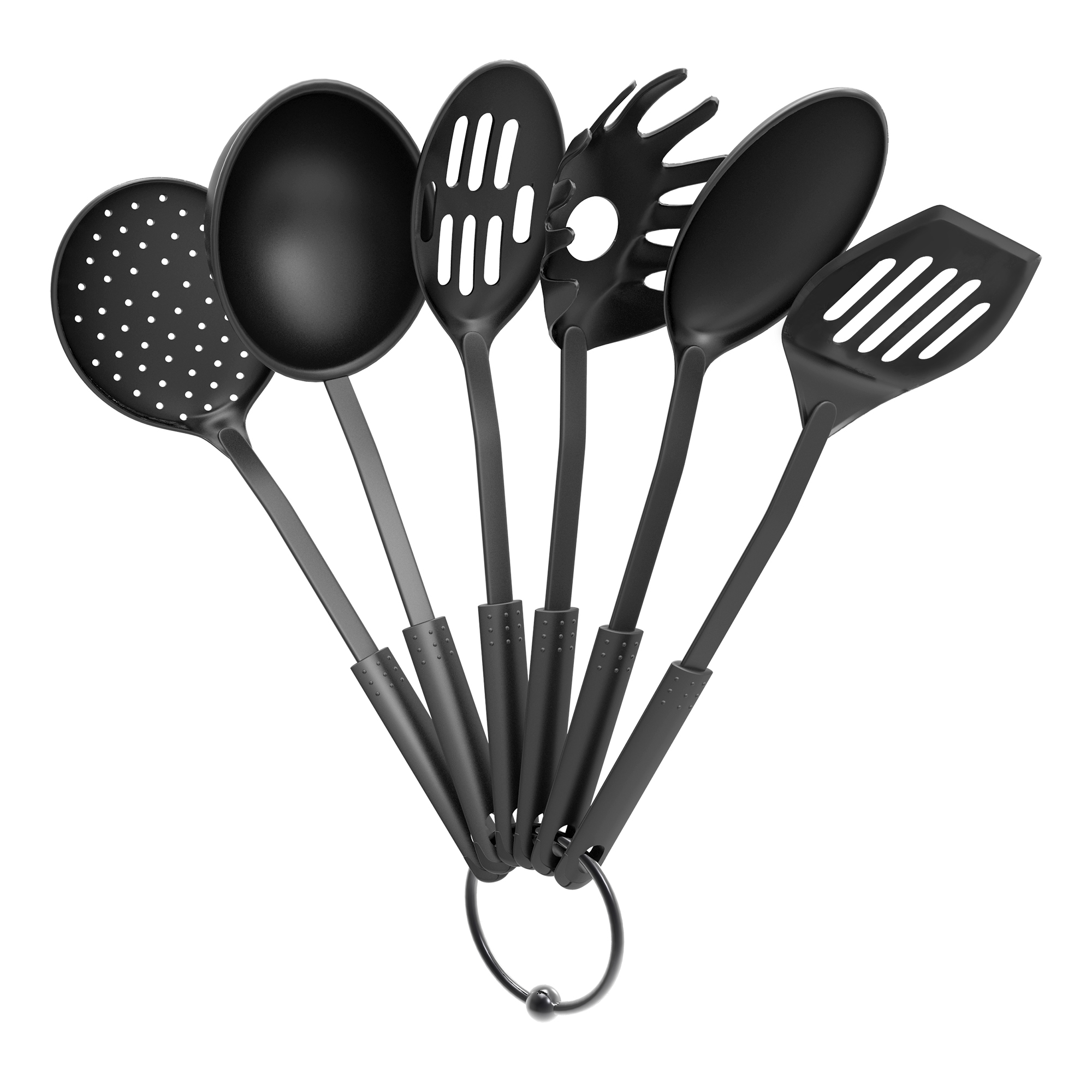 Kitchen Utensil and Gadget Set- Includes Plastic Spatula and Spoons by Chef Buddy- Cookware Set on a Ring (Six Piece Set)- Kitchen Essentials