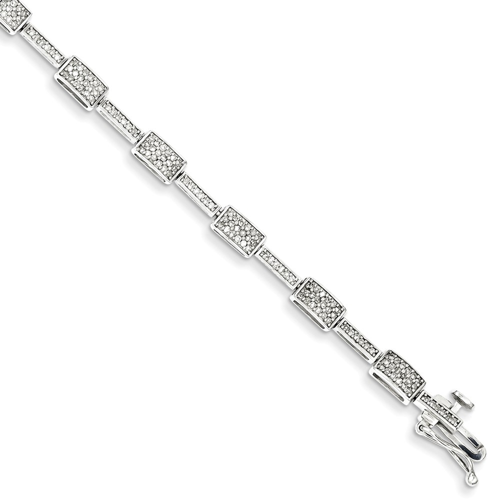 Sterling Silver Diamond Bracelet. Carat Wt- 0.95ct