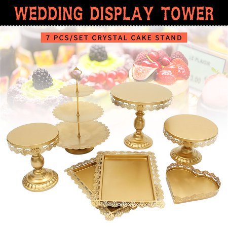 Wedding Cake Table Ideas (7P Gold/White Metal Wedding Cupcake Stand Set Pedestal/Display/Plate/Stands and Trays with Crystals and Beads,Birthday Party Wedding Decorations for)