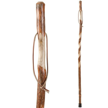 Brazos Twisted Sassafras Handcrafted Wood Walking Stick Trekking Pole Cane, 58 Inches