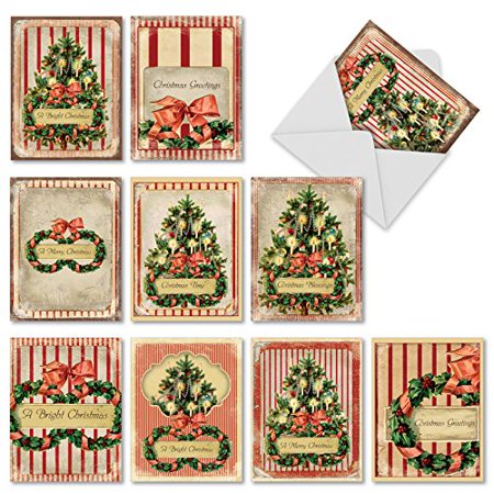 'M1744XB HOLIDAY MEMORIES' 10 Assorted All Occasions Note Cards Feature Vintage Images of Christmas Greenery with Envelopes by The Best Card - Note Cards Memory Box