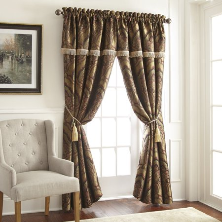 Seville 4-Piece Jacquard Green Gold Maroon Medallion Paisley Window Curtain/Drape Set Sheer Backing,Tassels, Valance, Heavyweight Jacquard Curtain Panel.., By Chezmoi Collection Ship from