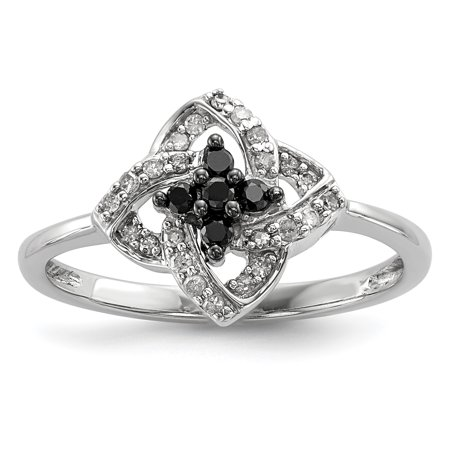 Sterling Silver Black and White Diamond Pinwheel Ring Size 8 - image 1 of 3