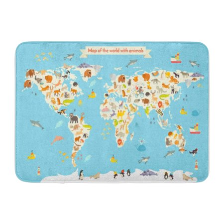POGLIP World Map Colorful Cartoon for Children and Kids Preschool Doormat Floor Rug Bath Mat 30x18 inch - image 1 de 1