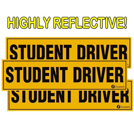 Zone Tech Set of 3 - Student Driver Magnets - Reflective Vehicle Car Sign-Black Letters on a Yellow Reflective Background 12 X 3 X 0.1 - Make Your Own Car Magnet