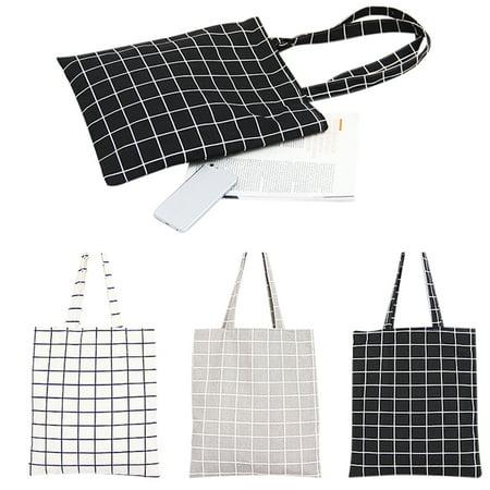 Women Student Cotton Linen Fashion Plaid Shoulder Tote Handbag Eco Shopping Large Capacity Canvas Purse Pouch White plaid double (Best Tote Bags For College Students)