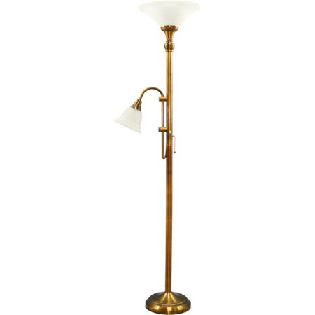 Grandrich majestic alabaster glass torchiere with reading for Alabaster torchiere floor lamp