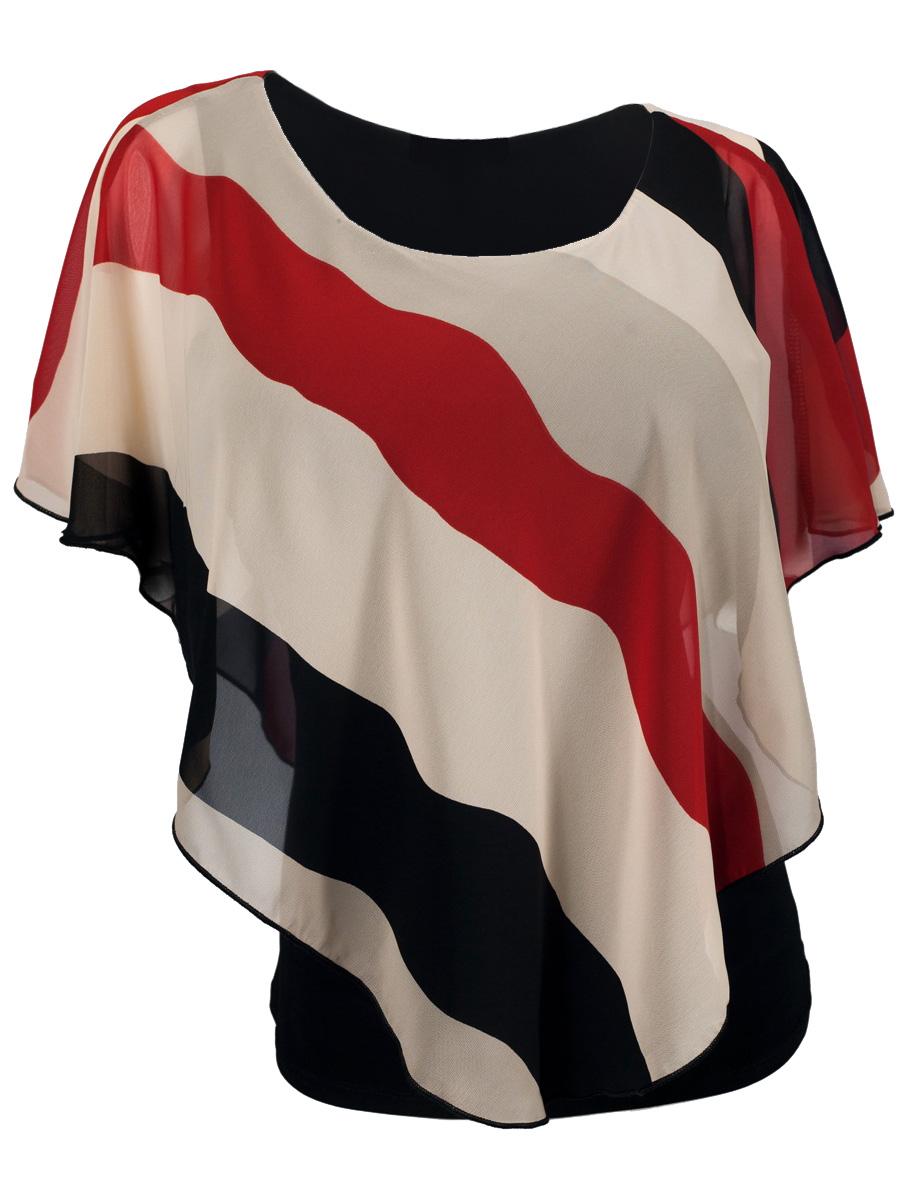 Evogues Apparel Evogues Plus Size Layered Poncho Top Stripe Print