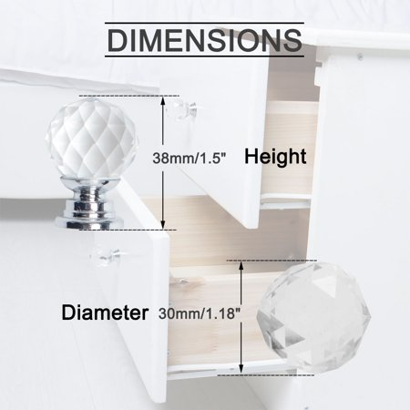 Crystal Knobs Drawer Pull Handle Cupboard Wardrobe Dresser Clear 30mm Dia, 10pcs - image 3 of 7