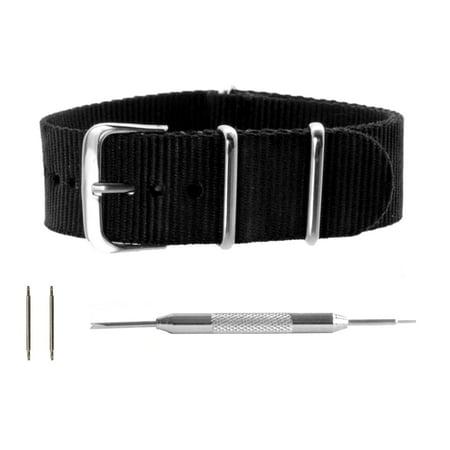 Black Ballistic Nylon NATO Watchband + Spring Bar Tool (18, 20, 22 & 24mm) (15mm Nylon Watch Band)