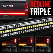 """48"""" Redline TRIPLE LED Tailgate Light Bar w/ Sequential Amber Turn Signals - 788 LED's Solid Beam - No Drill Install - Weatherproof - Warranty - Full Function Reverse Brake Running Back Up"""