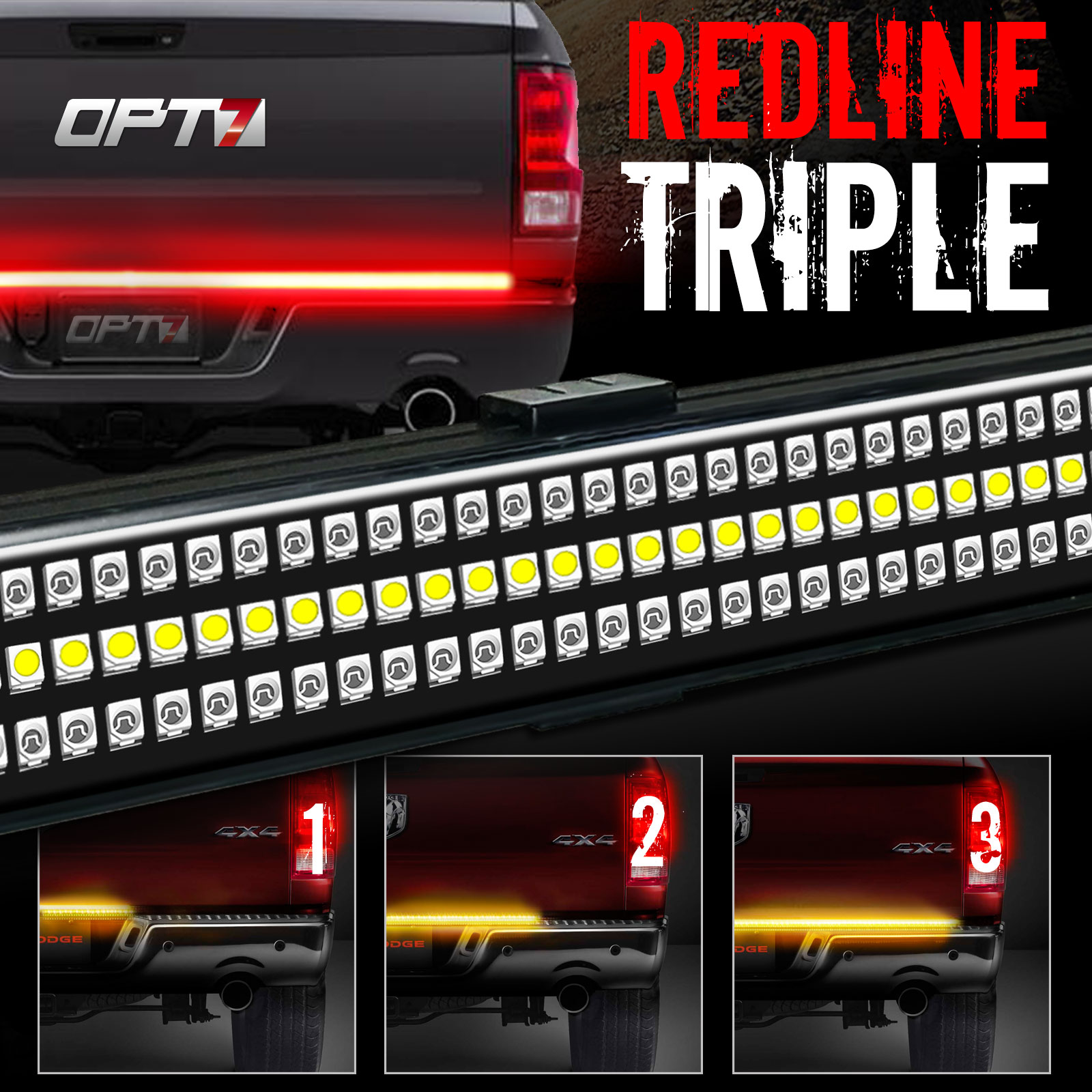 "48"" Redline TRIPLE LED Tailgate Light Bar w/ Sequential Amber Turn Signals - 788 LED's Solid Beam - No Drill Install - Weatherproof - Warranty - Full Function Reverse Brake Running Back Up"