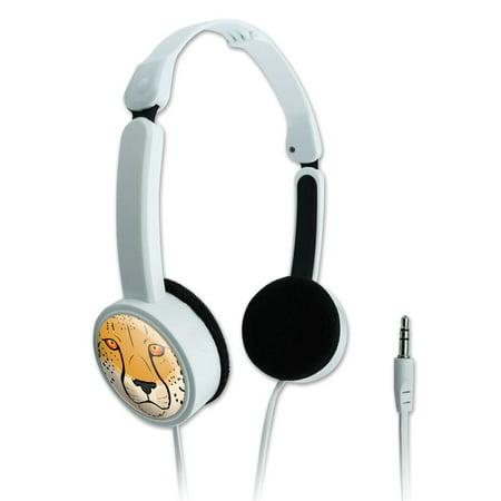 Cheetah Face Safari Novelty Travel Portable On-Ear Foldable Headphones