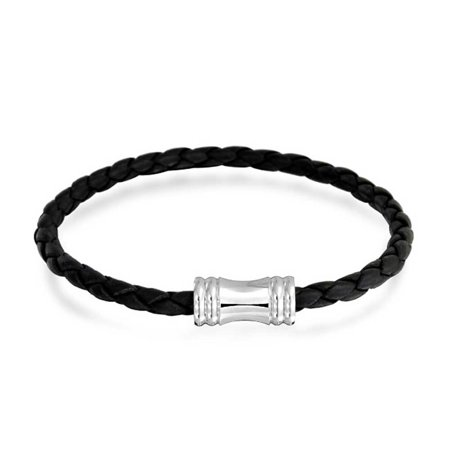 Bling Jewelry 4mm Black Braided Leather Bracelet Magnetic Clasp - Silver Tone Strand Bracelet