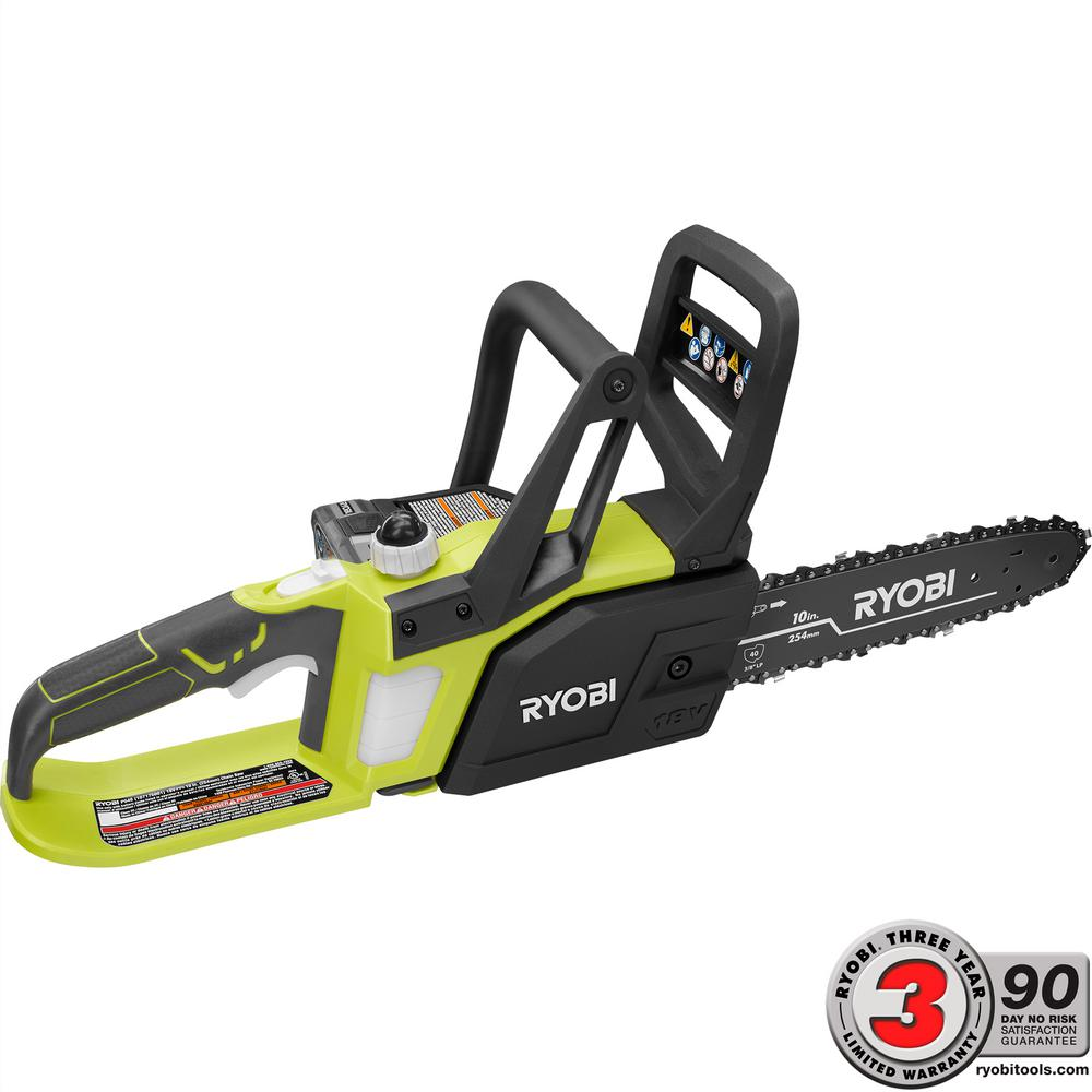 Ryobi ONE+ Lithium+ 10 in. 18-Volt Lithium-Ion Cordless Chainsaw P547 by