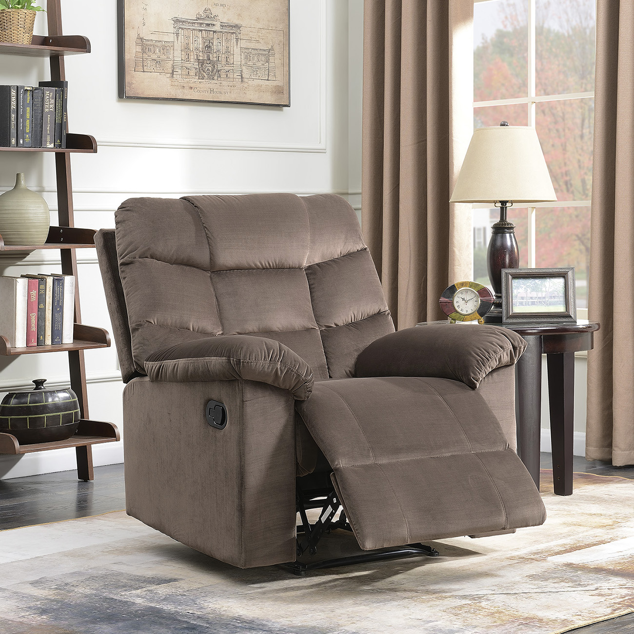 Belleze Microfiber Contemporary Full Recliner Lounger High Back Extra Padded Overstuffed Armrest Backrest Chair, Brown