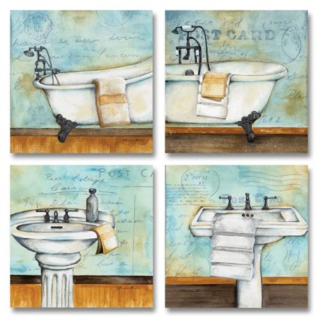 Vintage Bathtub and Sink Bathroom Prints on a Postcard Background; Four 12x12in Posters