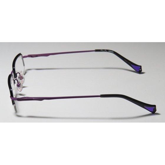 9dfb4f8df04d New Thalia Abrazo Womens Ladies Designer Half-Rim Black   Purple Stainless  Steel Fashionable Frame Demo Lenses 43-18-130 Spring Hinges Eyeglasses  Eyeglass ...