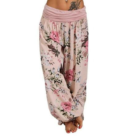Sexy Dance High Waisted Harem Pants for Women Loose Boho Floral Print Hippie Sweatpants Ladies Fashion Harem Yoga Trousers