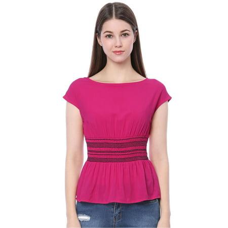Women's Smocked Waist Blouse Boat Neck Empire Waist Peplum Top Purple XL (US 18) (Smock Waist Shirt)