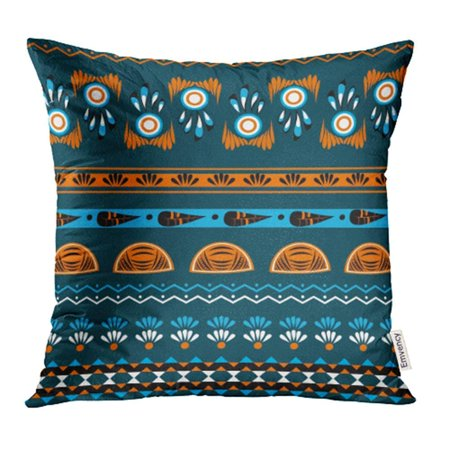 BSDHOME Tribal Ethnic Boho Chic Style with Abstract in Blue and Oranges Colors Design Pillowcase Cushion Cover 18x18 inch - image 1 of 1