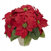 Poinsettia with Ceramic Vase Silk Flower Arrangement