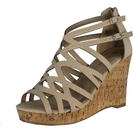Top Moda Women's Blow-28 Wedge Sandals, Beige, 10 - Toms Beige Wedges