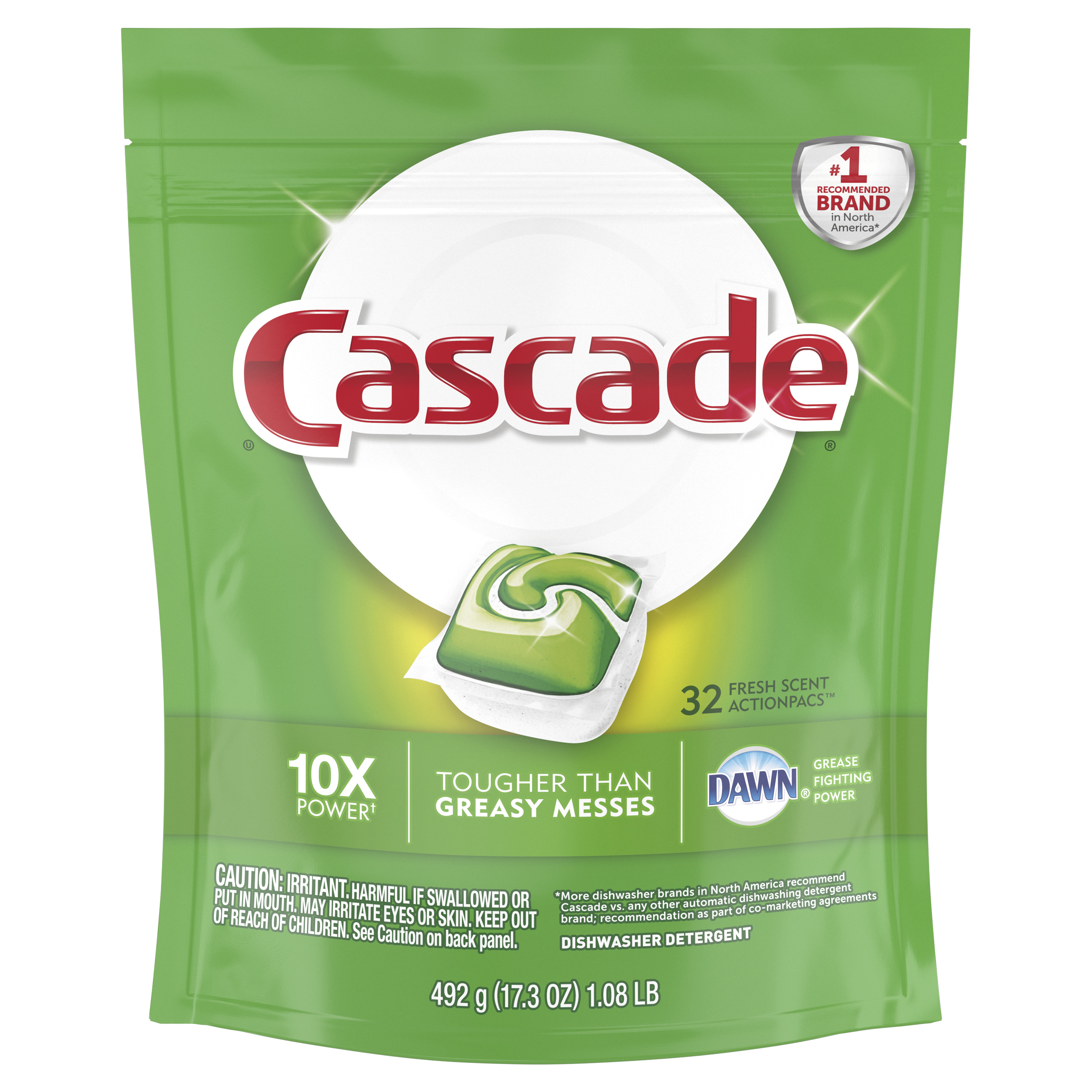 Cascade ActionPacs Dishwasher Detergent, Fresh, 32 count
