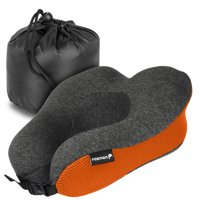 Fosmon Travel Neck Pillow, Soft and Comfortable Memory Foam Neck Cushion, Head & Chin Support Travel Pillow, Machine Washable 100% Cotton Cover for Traveling Flying Airplane Car Bus