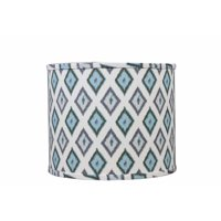 Somette  Aqua And Grey Diamonds 12 inch Drum Lamp Shade with Washer