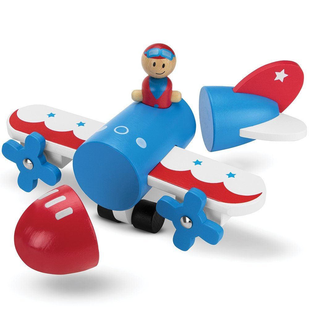 Toddler Toy For Boys, Wooden Wonders Magnetic Plane Take Apart Building Toy Kit