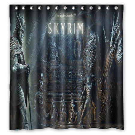 DEYOU Elder Scrolls V Skyrim Shower Curtain Polyester Fabric Bathroom Size 66x72 Inches