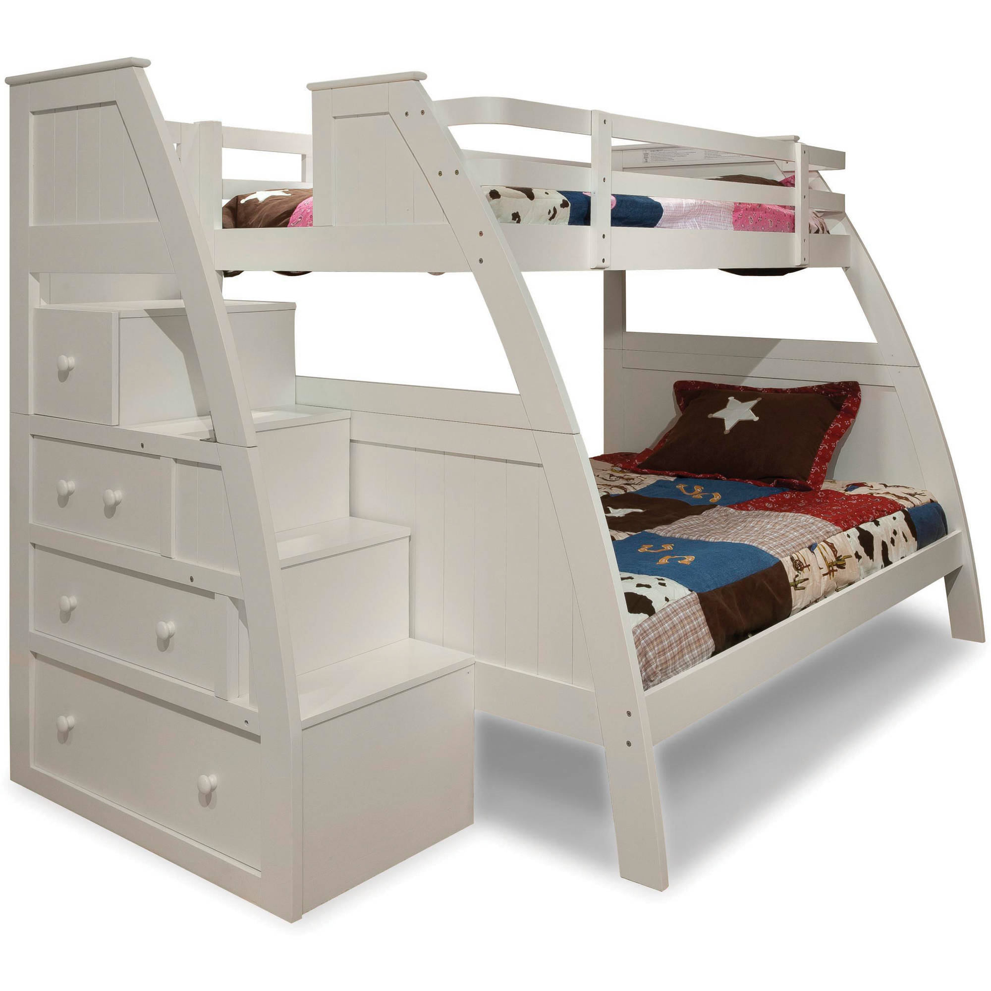 Better Homes and Gardens Kids Sebring Twin Over Full Bunk Bed with Storage, White (Box 1 of 5)