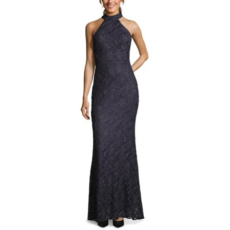 Betsy & Adam Womens Lace Overlay Halter Neck Evening Dress Nylon Print Halter Dress