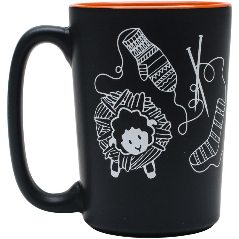 Knit Happy Scribbles Mug 10oz-orange
