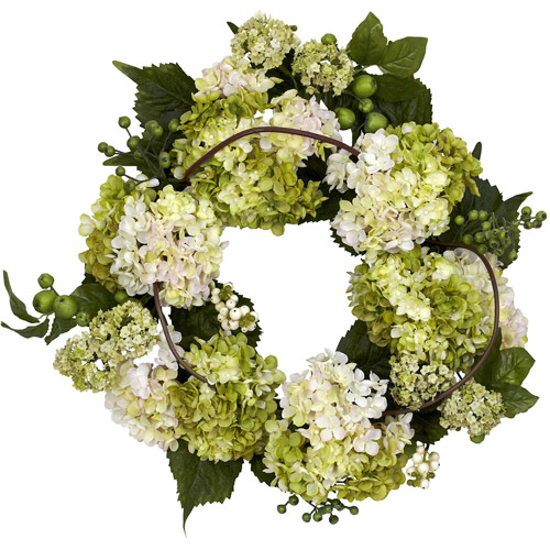 "22"" Hydrangea Wreath, Cream/Green"